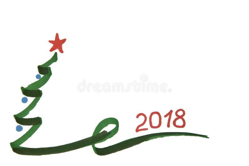 L'arbre de Noël du ` s de nouvelle année avec les boules et les numéros 2018 a peint des WI illustration de vecteur