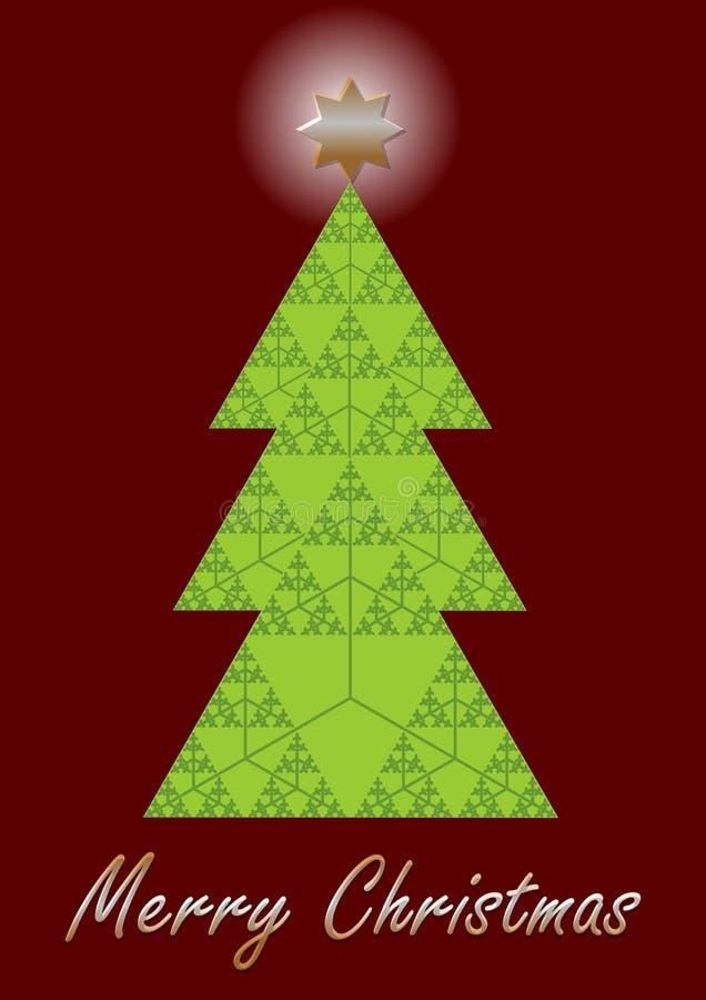 L'arbre de Noël, fractale a conçu la carte de Noël Fractale de triangle de Sierpinki composée comme arbre de Noël Moderne peu com illustration libre de droits