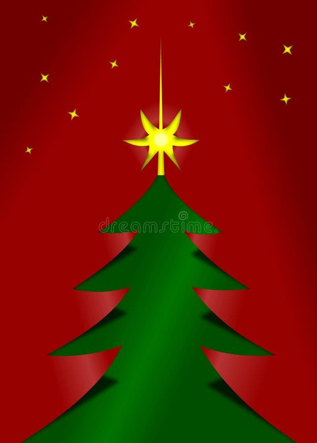 L'arbre de Noël rouge et vert cutted du papier illustration libre de droits