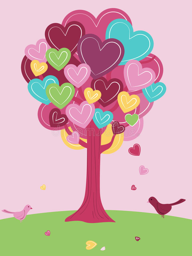 L'arbre de Valentine illustration stock