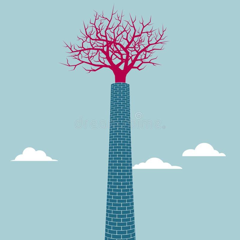 L'arbre est dans la cheminée illustration libre de droits