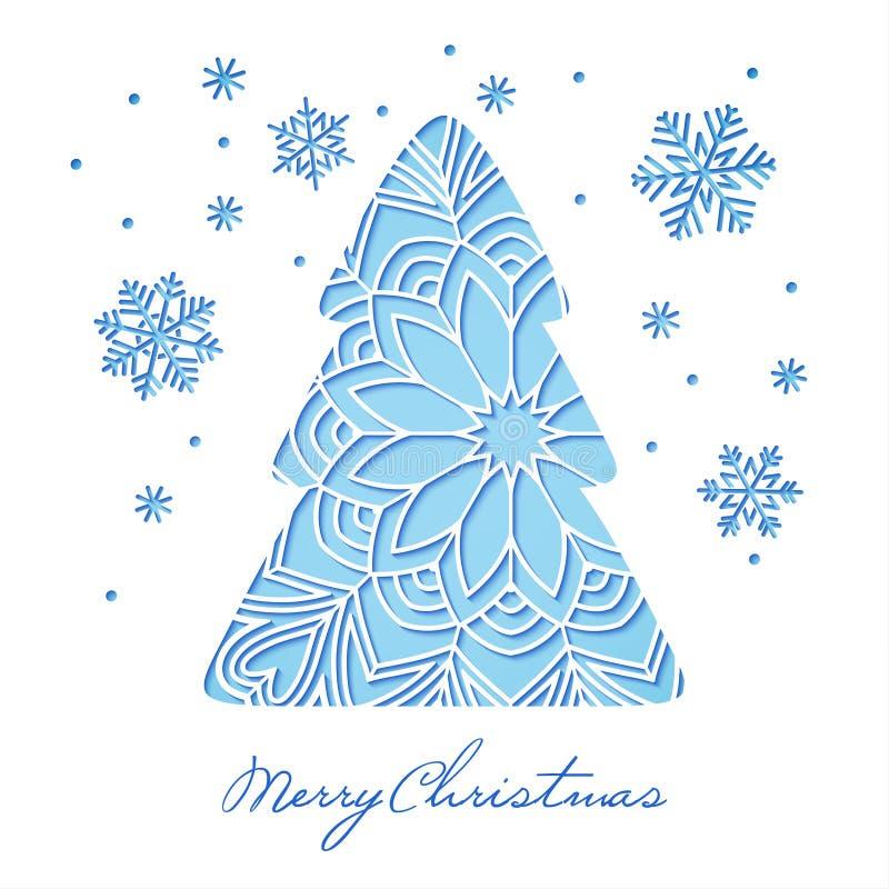 L'arbre et les flocons de neige de Noël à jour blancs ont coupé du papier illustration de vecteur