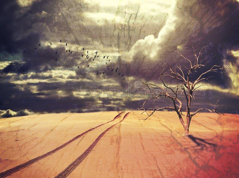 L'arbre et les pistes pour véhicules morts dans le désert surréaliste aménagent en parc photographie stock