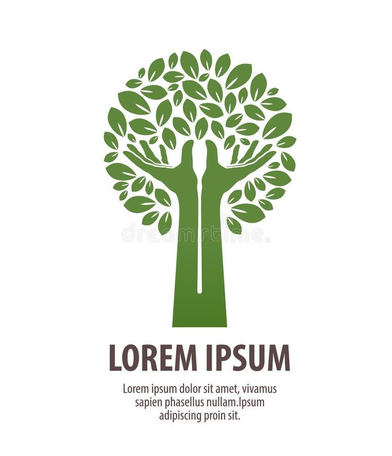 L'arbre a fait des mains et des feuilles Logo ou écologie de nature Icône, symbole illustration de vecteur