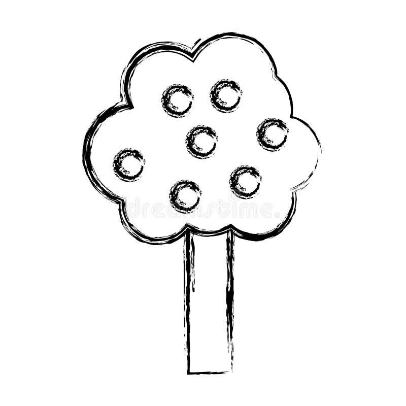 L'arbre grunge de nature part avec le style de tige illustration de vecteur