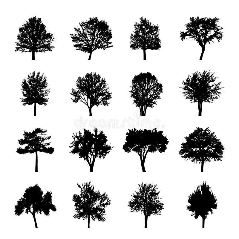 L'arbre noir silhouette la nature Forest Vector Illustration illustration de vecteur