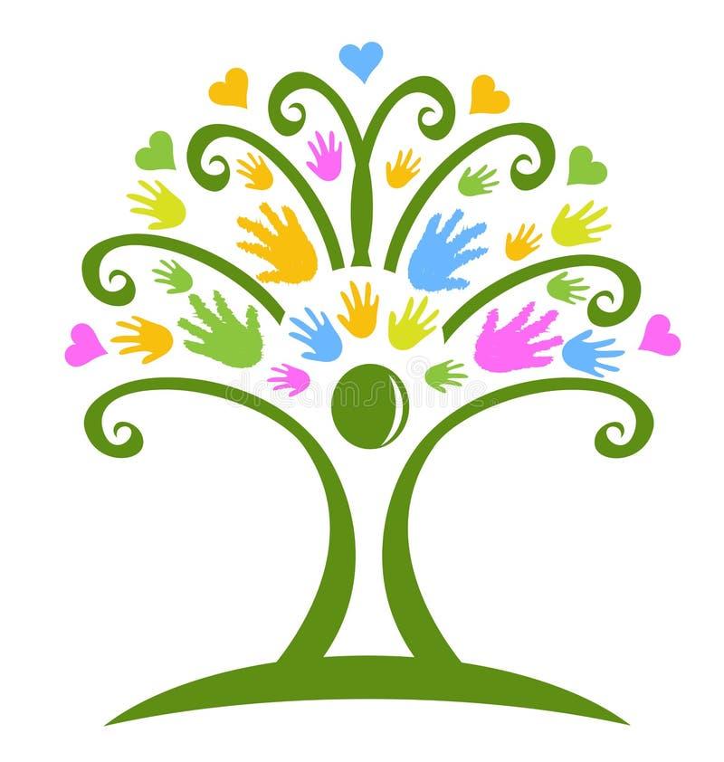 L'arbre remet des soins des enfants illustration libre de droits