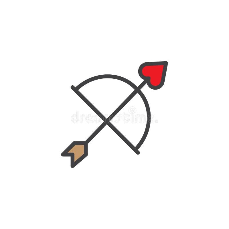 L'arc de cupidon et la flèche de coeur ont rempli icône d'ensemble illustration de vecteur