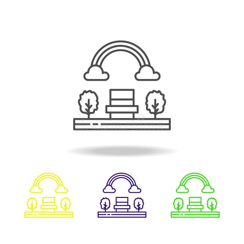 L'arc-en-ciel, arbre, nature a coloré l'icône Peut être employé pour le Web, logo, l'appli mobile, UI, UX illustration libre de droits