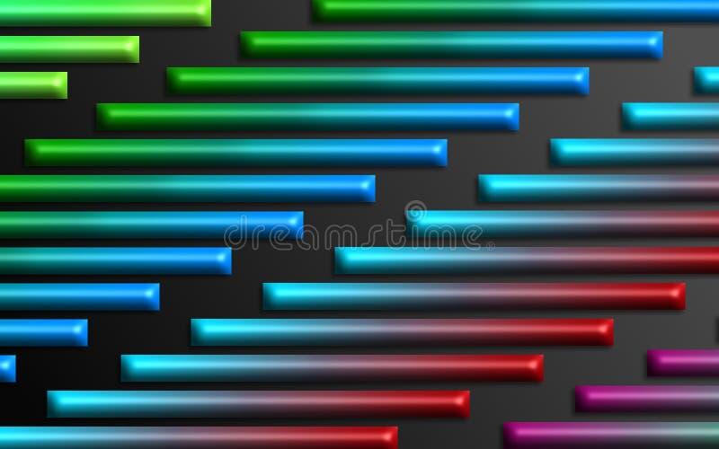L'arc-en-ciel coloré barre le fond - papier peint dimensionnel abstrait de formes illustration libre de droits