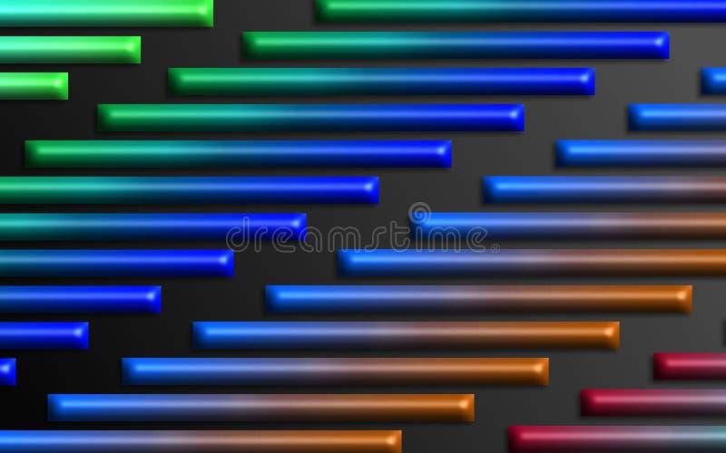 L'arc-en-ciel coloré barre le fond - papier peint dimensionnel abstrait de formes illustration de vecteur