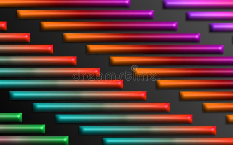L'arc-en-ciel coloré barre le fond - papier peint dimensionnel abstrait de formes illustration stock