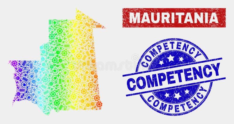 L'arc-en-ciel a coloré des joints de compétence de carte et de détresse de la Mauritanie d'outils illustration de vecteur