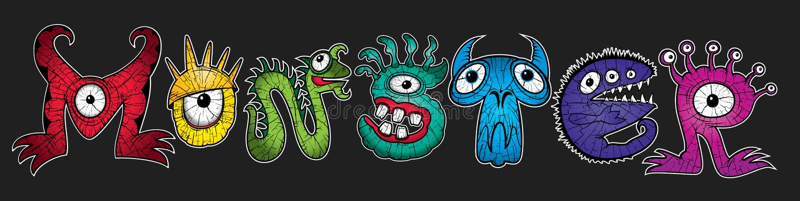 L'arc-en-ciel de mutant colore des illustrations de monstres de personnage de dessin animé illustration libre de droits
