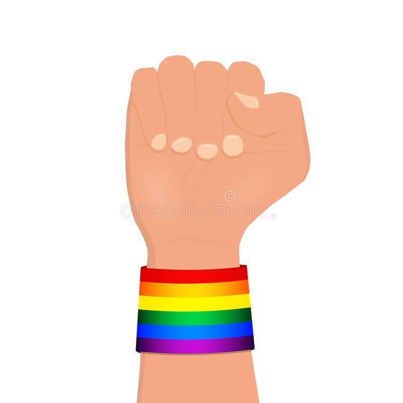 L'arc-en-ciel de port de poing serré a coloré le bracelet de lgbt illustration libre de droits