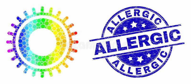 L'arc-en-ciel de vecteur a coloré l'icône de vitesse de Pixelated et afflige le filigrane allergique illustration de vecteur