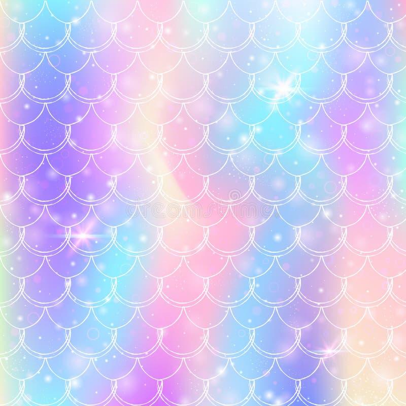 L'arc-en-ciel mesure le fond avec le mod?le de princesse de sir?ne de kawaii illustration stock