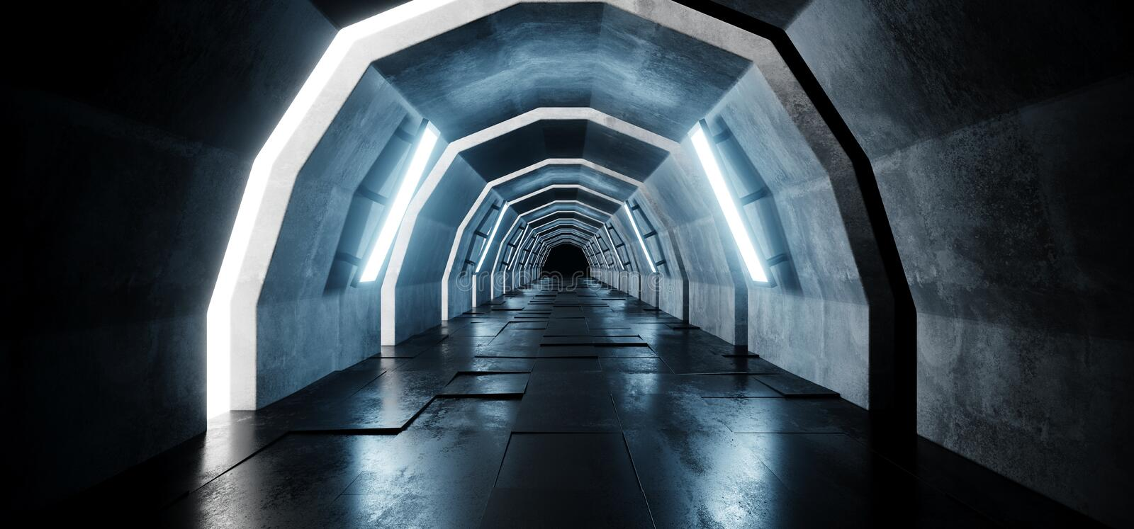 L'arc ovale de Sci fi a formé le tunnel réfléchi tuile en béton Hall With Blue Lights Futuristic de couloir de plancher de long g illustration stock
