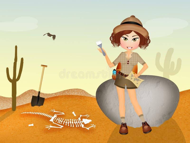 L'archéologue de fille découvre des fossiles illustration libre de droits