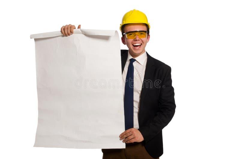 L'architecte drôle avec des dessins sur le blanc images stock