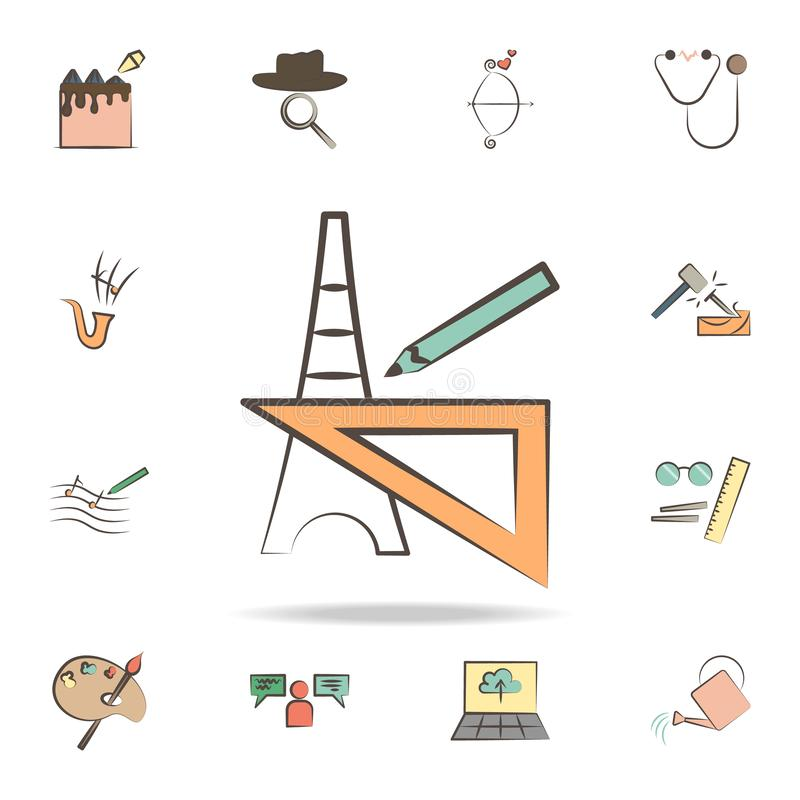 l'architecte usine l'icône Ensemble détaillé d'outils de diverses icônes de profession Conception graphique de la meilleure quali illustration de vecteur
