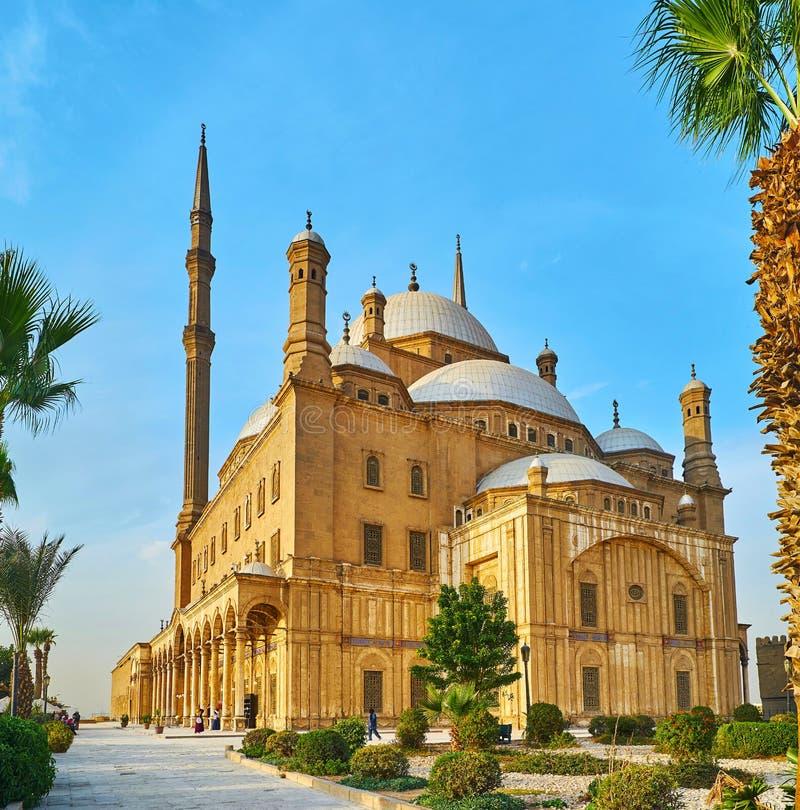 L'architecture de la mosquée d'albâtre, le Caire, Egypte photo libre de droits