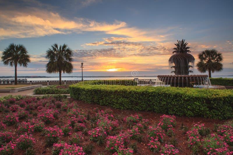 Parc de bord de mer de Sc de Charleston au lever de soleil photo libre de droits