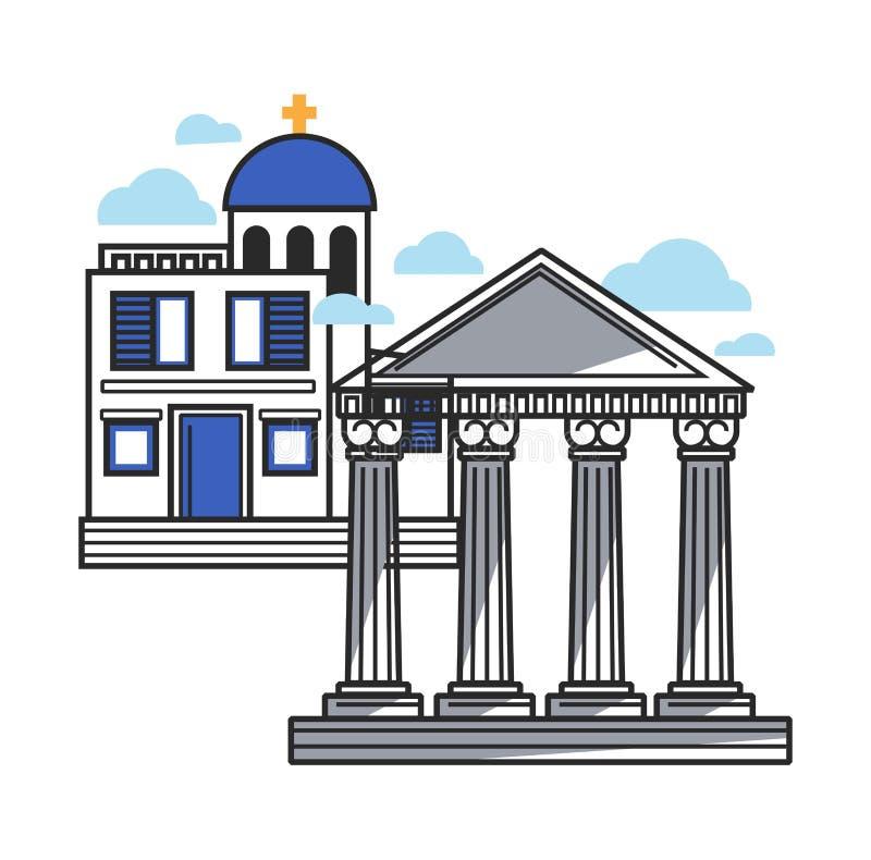 L'architecture moderne et antique grecque prélève l'illustration d'isolement illustration stock