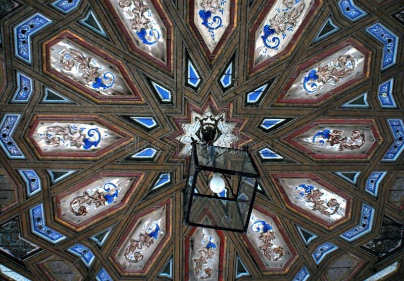 L'architettura della Spagna dettaglia la città Hall San Lucar Barremeda del soffitto immagine stock libera da diritti