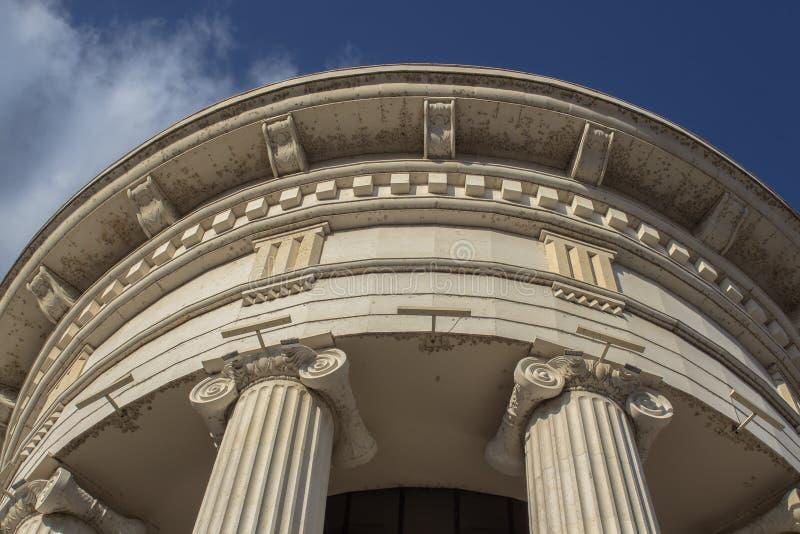 L'architettura di Skopje Elemento del rotunda nel centro della città macedonia fotografia stock libera da diritti
