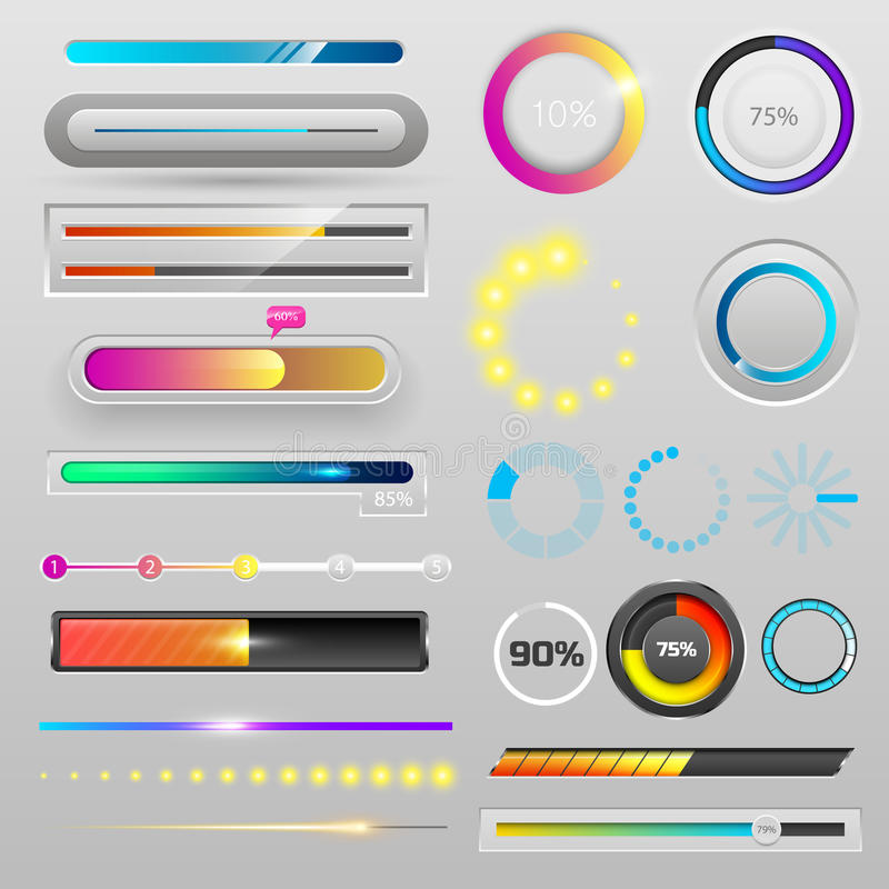 L'archivio di modello di progettazione di interfaccia di web di ui-UX di progresso di download degli indicatori della barra di ca illustrazione di stock