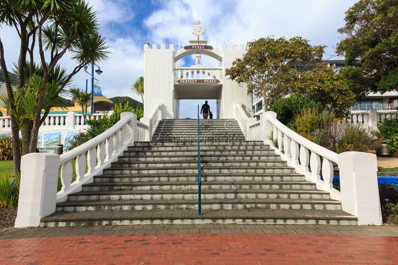 L'arco del memoriale di guerra in Picton, Nuova Zelanda immagini stock libere da diritti