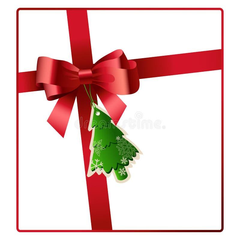 L'arco ed il nastro rossi con l'albero di Natale etichettano il vettore royalty illustrazione gratis