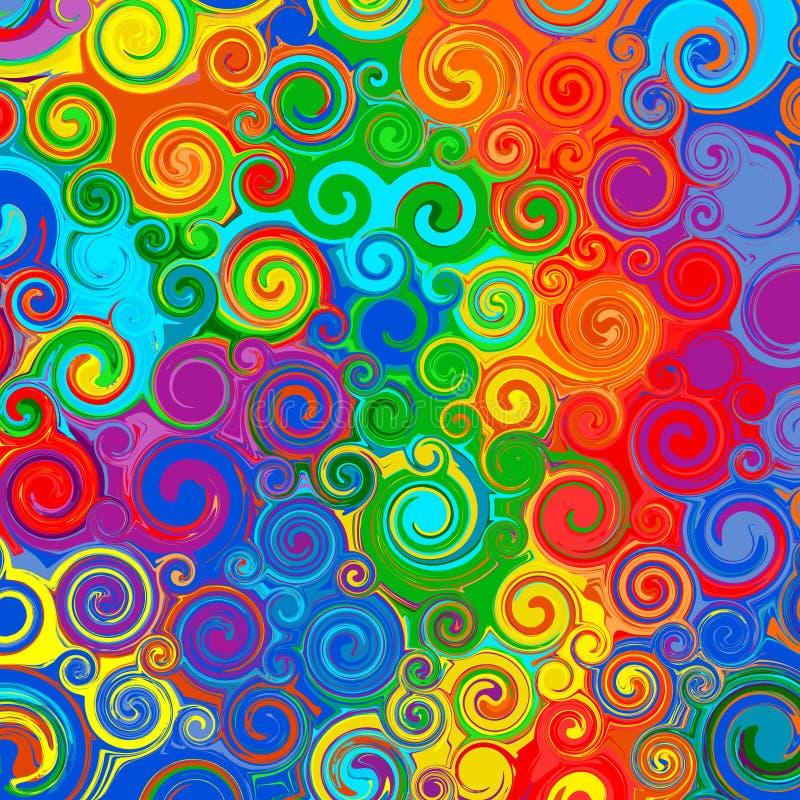 L'arcobaleno astratto ha curvato la linea fondo di colore delle bande di vettore del modello di turbinio di arte illustrazione vettoriale