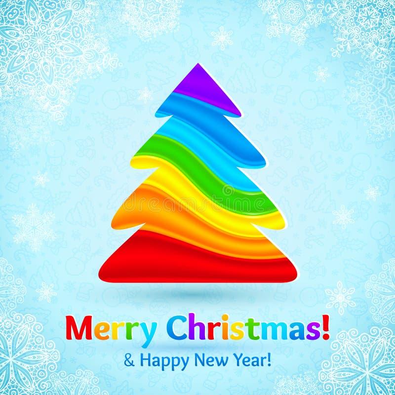 L'arcobaleno colora l'albero di Natale di plastica delle bande royalty illustrazione gratis