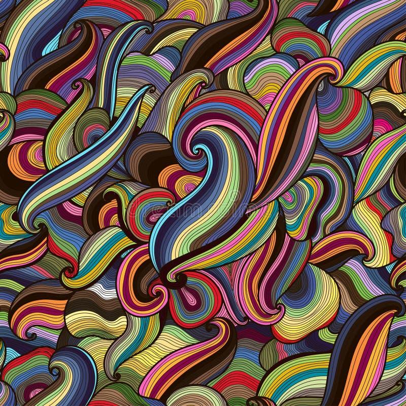 L'arcobaleno disegnato a mano astratto di vettore colorato ondeggia il modello senza cuciture illustrazione vettoriale