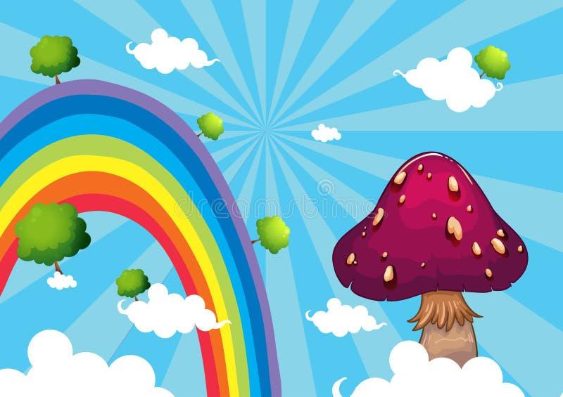 L'arcobaleno ed il fungo gigante illustrazione vettoriale