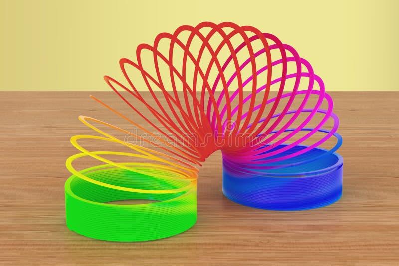 L'arcobaleno ha colorato la plastica, giocattolo sexy sulla tavola di legno 3d si strappano illustrazione di stock