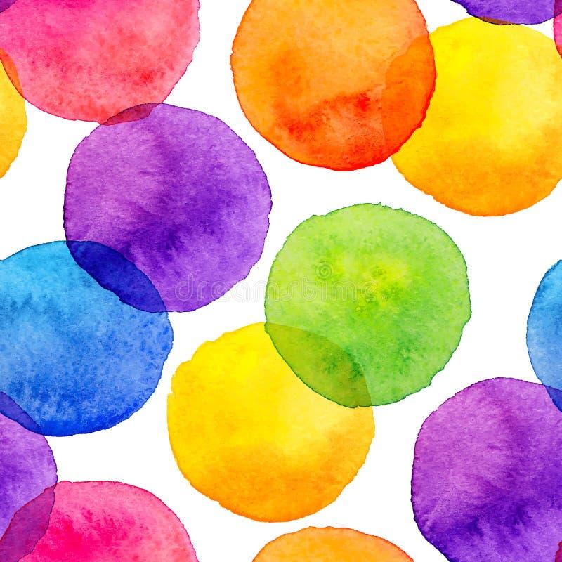 L'arcobaleno luminoso colora i cerchi dipinti acquerello illustrazione vettoriale
