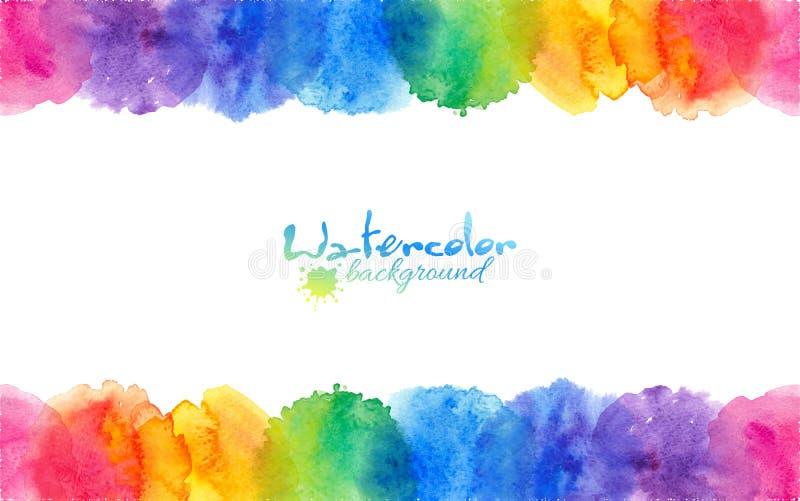 L'arcobaleno luminoso colora la struttura dei cerchi dell'acquerello royalty illustrazione gratis