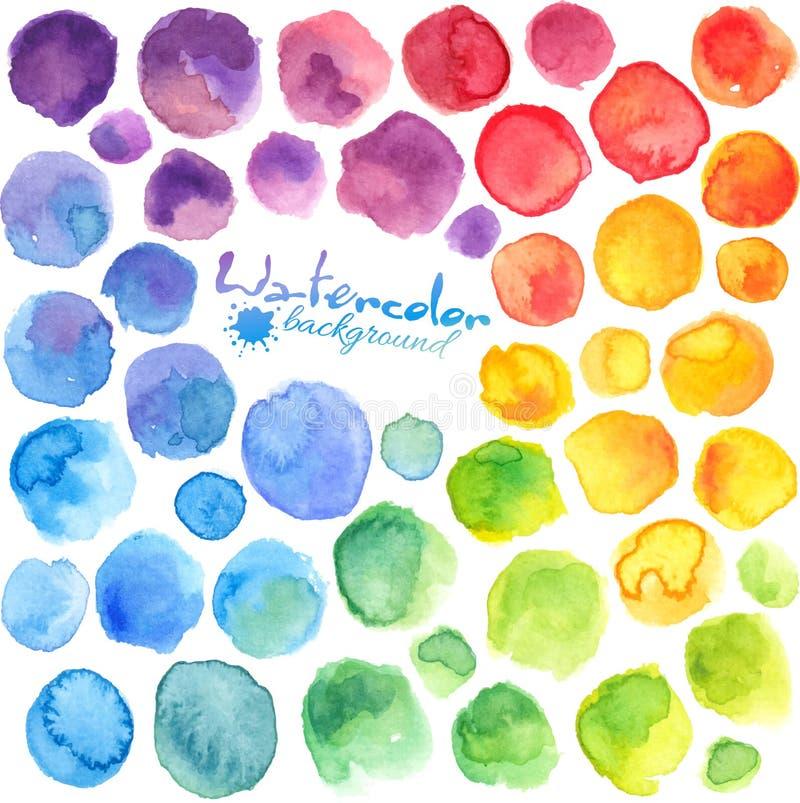 L'arcobaleno luminoso colora le macchie dipinte acquerello illustrazione di stock