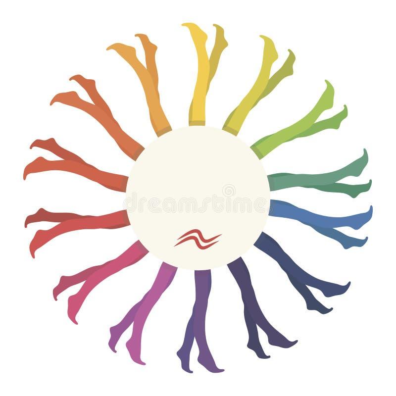 L'arcobaleno multicolore delle calze delle calzamaglia colora il tessuto di nylon colorato luminoso in un cerchio come fiore con  illustrazione vettoriale