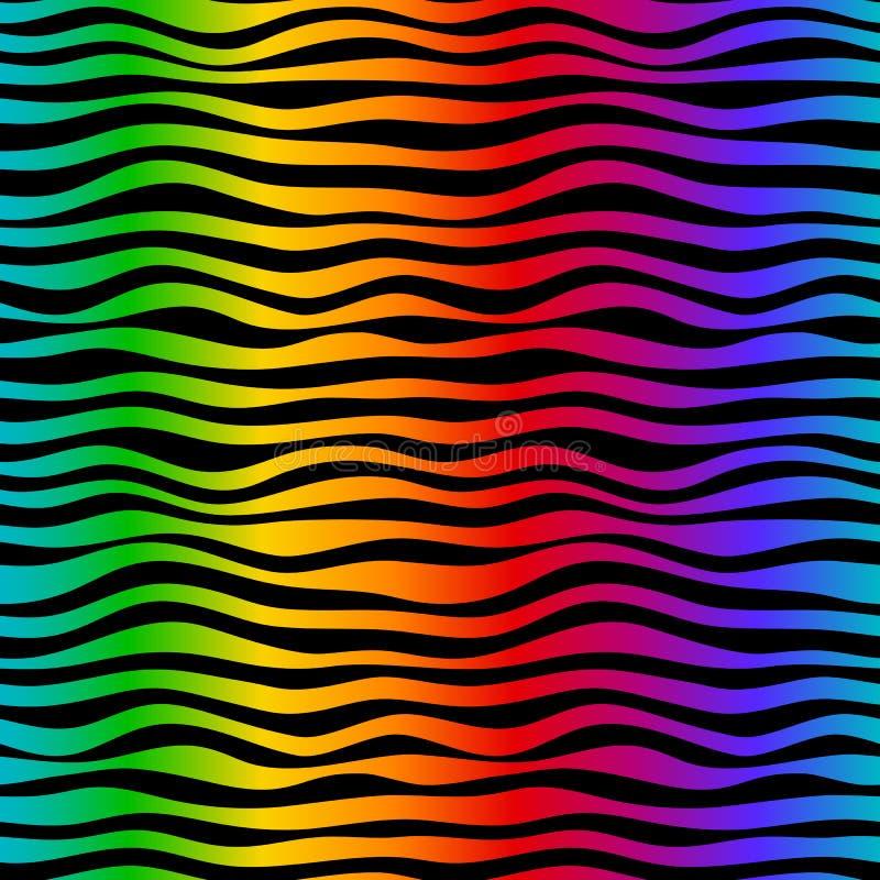 L'arcobaleno ondeggia il backgrownd senza cuciture del modello Colori ed il nero luminosi Curve astratte disegnate a mano illustrazione vettoriale
