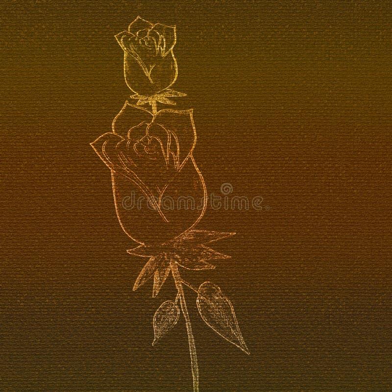 L'ardore è aumentato impresso sulla carta rosa della tela Materiale illustrativo disegnato a mano illustrazione di stock