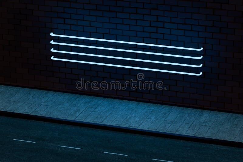 L'ardore al neon con il fondo del muro di mattoni, rappresentazione 3d illustrazione vettoriale