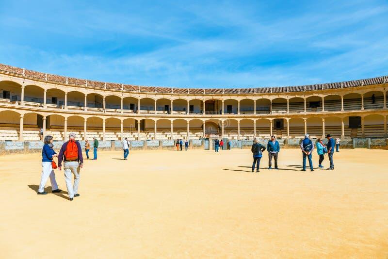 L'arena a Ronda è una di più vecchia ed arena della tauromachia più famosa in Andalusia, Spagna immagine stock