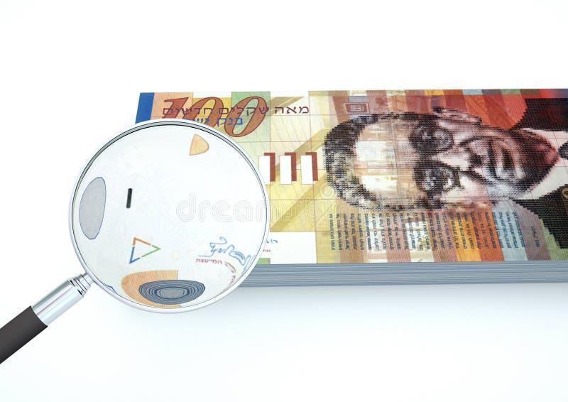 l'argent de l'Arabie d'Israélien rendu par 3D avec la loupe étudient la devise sur le fond blanc photographie stock libre de droits