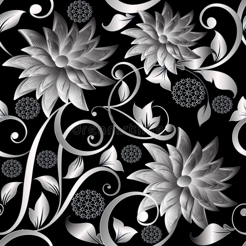 l'argent du vintage 3d fleurit le modèle sans couture Backgr floral de vecteur illustration de vecteur