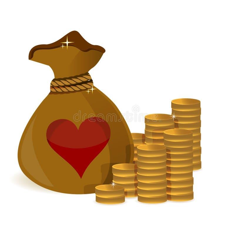 L'argent invente le sac avec le coeur i illustration de vecteur