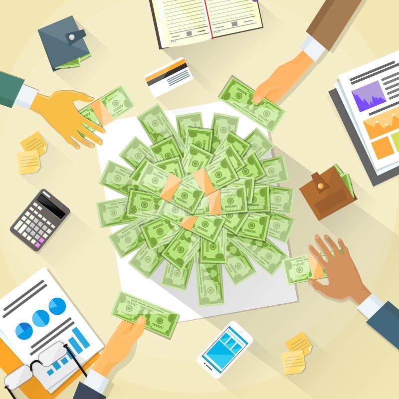 L'argent sur le bureau remet à des gens d'affaires la foule de groupe illustration stock